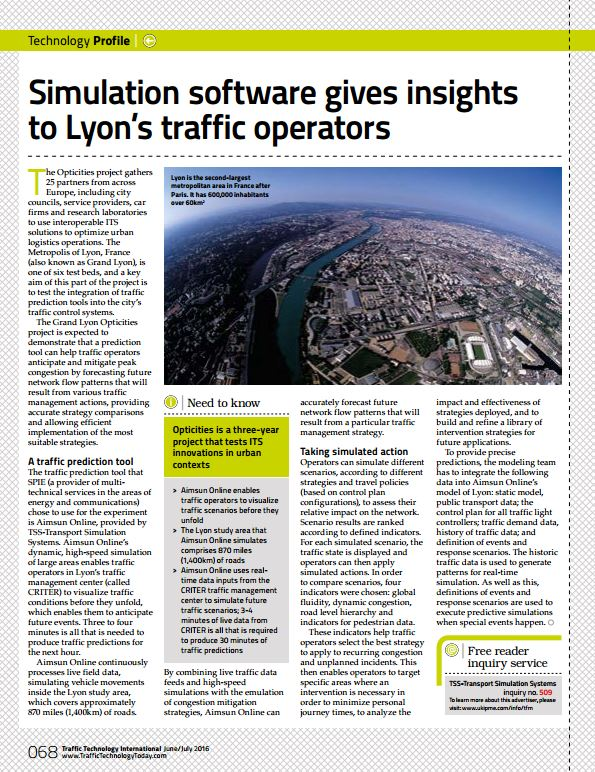 Simulation software gives insights  to Lyon's traffic operators