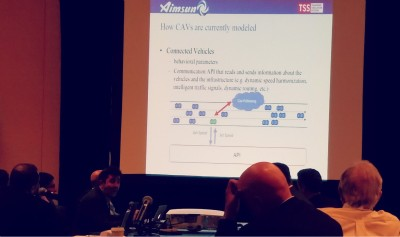 TSS takes Aimsun traffic modeling software to TRB Annual Meeting 2017 - Jordi Casas presents an architecture for modeling connected and autonomous vehicles at the SimSub meeting, TRBAM 2017