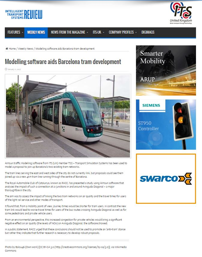 Aimsun traffic modelling software aids Barcelona tram development