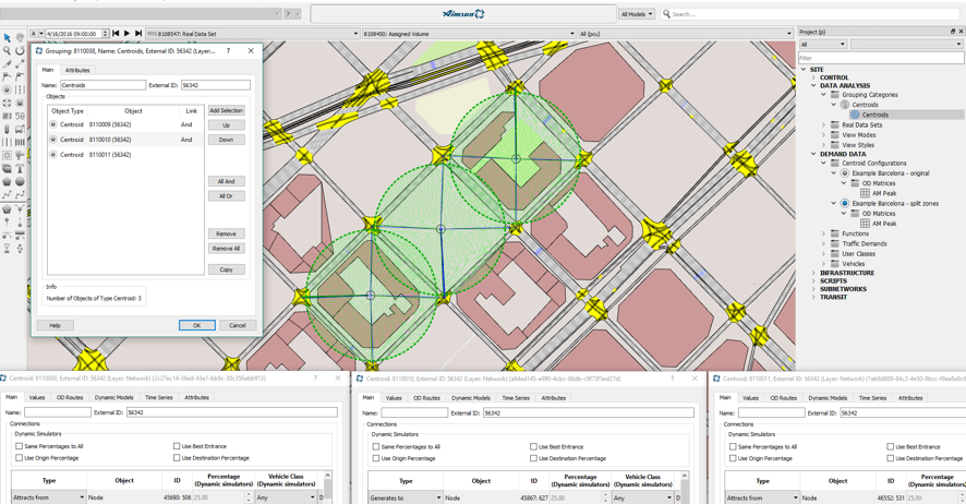 use Groupings of Centroids to split zones in Aimsun traffic modelling software