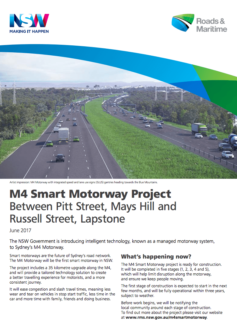 RMS M4 Smart Motorway Project Update 2017