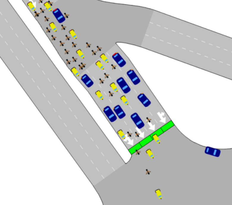 Modeling non-lane-based behavior in New Delhi