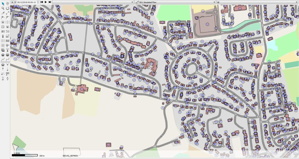 Figure 1. A small section of the simulated road network developed in Aimsun (north part of Otley).