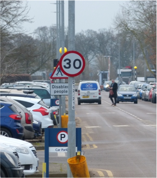 Figure 2: Culham Science centre roads (Note positions of pedestrian and pedestrian crossing)